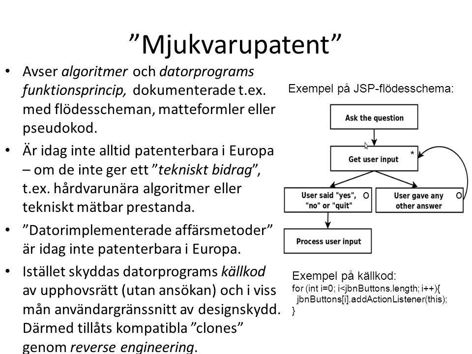 Mjukvarupatent Avser algoritmer och datorprograms funktionsprincip, dokumenterade t.ex. med flödesscheman, matteformler eller pseudokod.