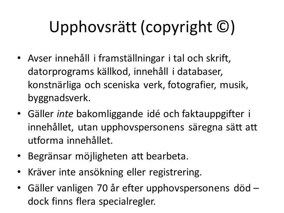 Upphovsrätt (copyright ©)