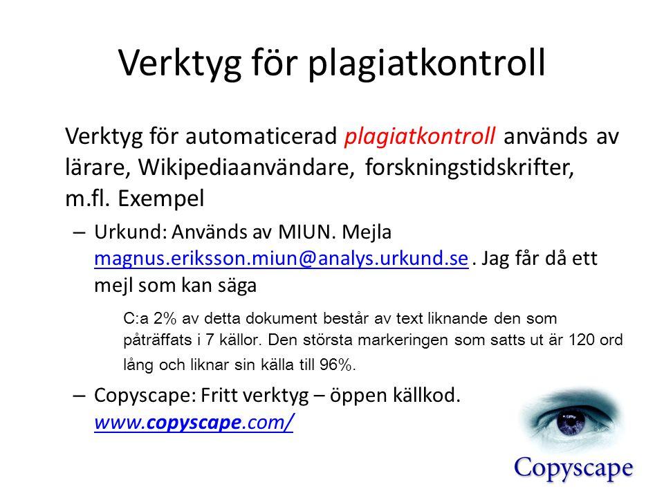 Verktyg för plagiatkontroll