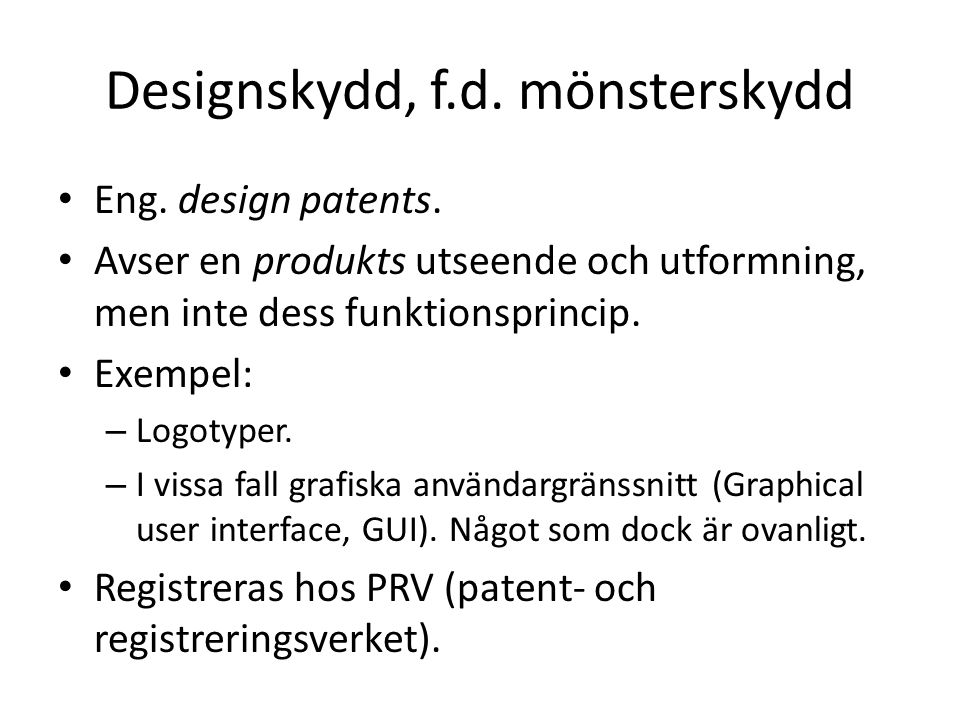 Designskydd, f.d. mönsterskydd