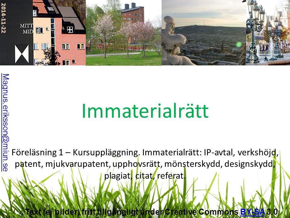 2017-04-07 Immaterialrätt. Magnus.eriksson@miun.se.
