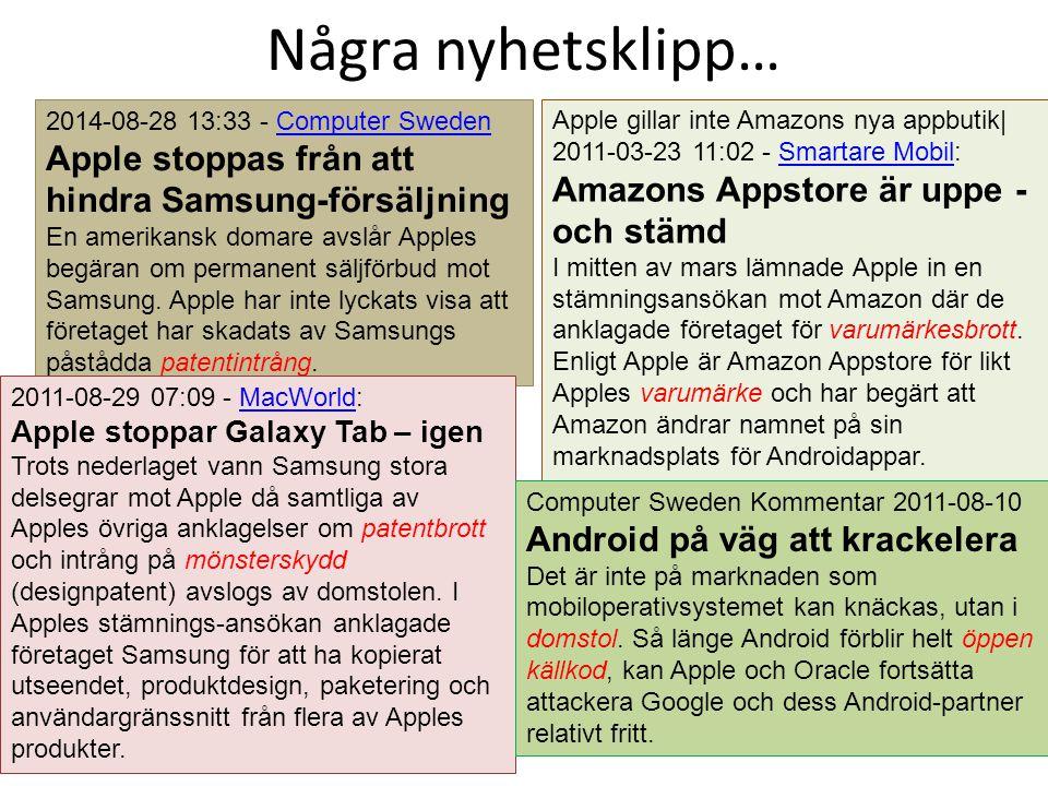 Några nyhetsklipp… Apple stoppas från att hindra Samsung-försäljning