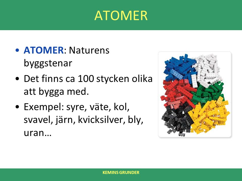 ATOMER ATOMER: Naturens byggstenar