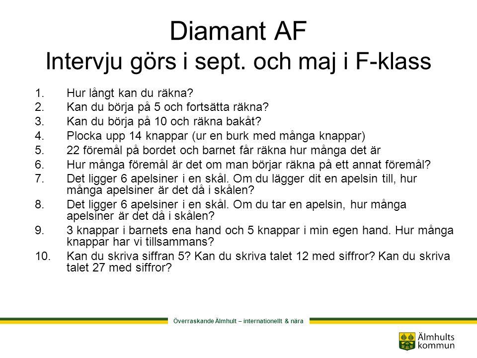 Diamant AF Intervju görs i sept. och maj i F-klass