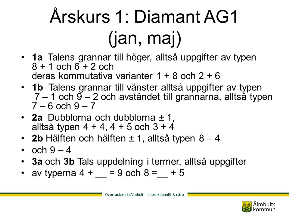 Årskurs 1: Diamant AG1 (jan, maj)