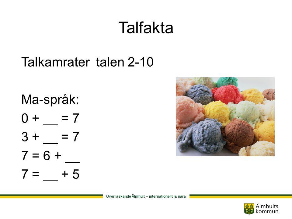 Talfakta Talkamrater talen 2-10 Ma-språk: 0 + __ = 7 3 + __ = 7
