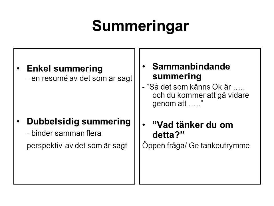 Summeringar Enkel summering - en resumé av det som är sagt