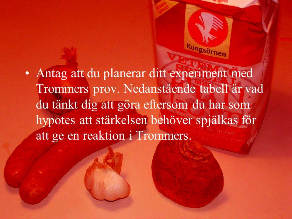 Antag att du planerar ditt experiment med Trommers prov