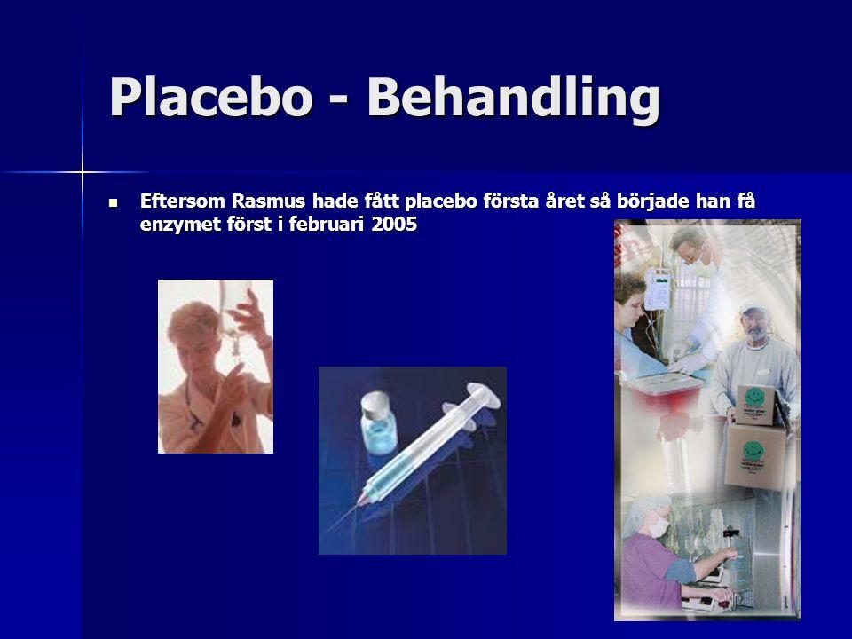 Placebo - Behandling Eftersom Rasmus hade fått placebo första året så började han få enzymet först i februari 2005.