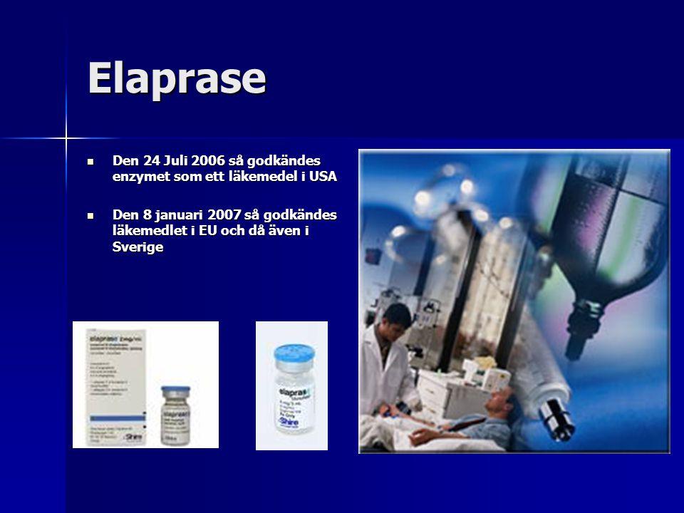 Elaprase Den 24 Juli 2006 så godkändes enzymet som ett läkemedel i USA