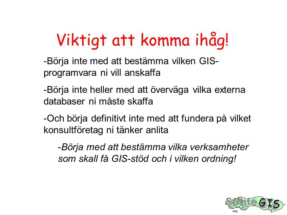 Viktigt att komma ihåg! Börja inte med att bestämma vilken GIS-programvara ni vill anskaffa.