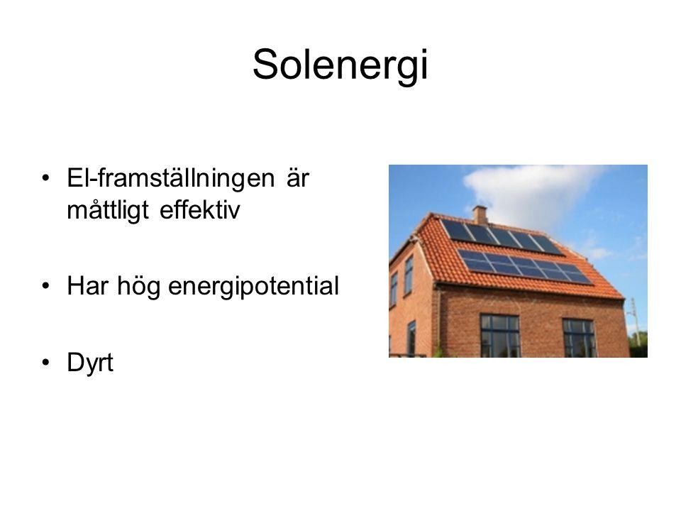 Solenergi El-framställningen är måttligt effektiv