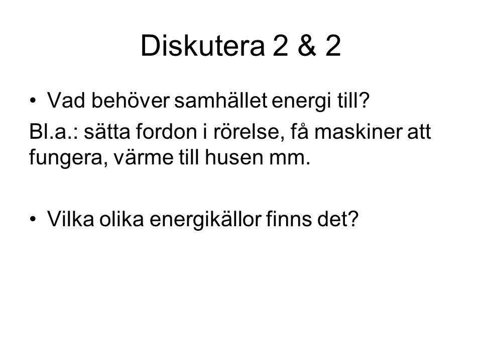 Diskutera 2 & 2 Vad behöver samhället energi till