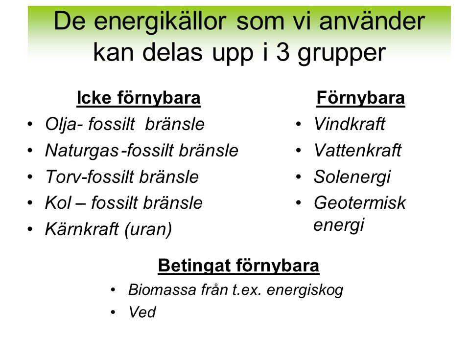 De energikällor som vi använder kan delas upp i 3 grupper