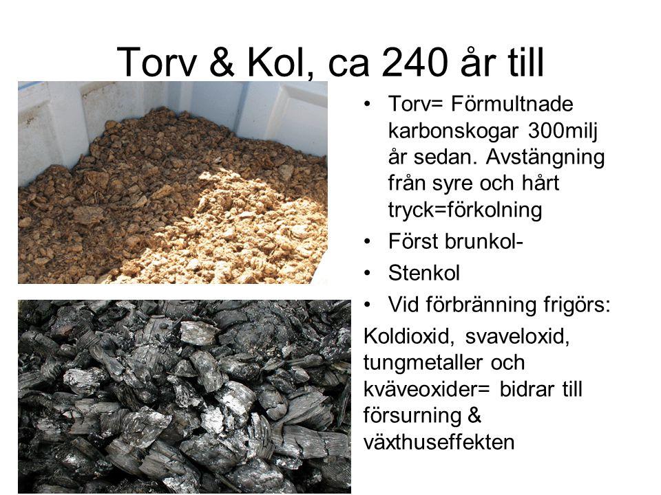 Torv & Kol, ca 240 år till Torv= Förmultnade karbonskogar 300milj år sedan. Avstängning från syre och hårt tryck=förkolning.