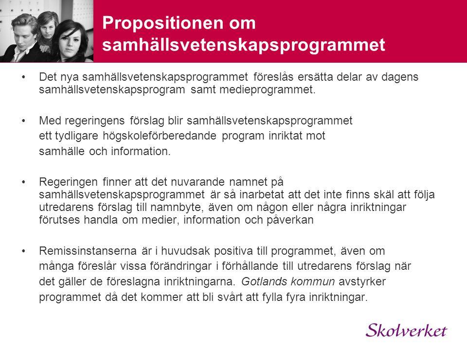 Propositionen om samhällsvetenskapsprogrammet