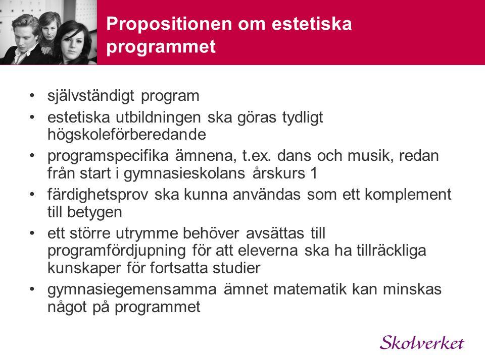 Propositionen om estetiska programmet