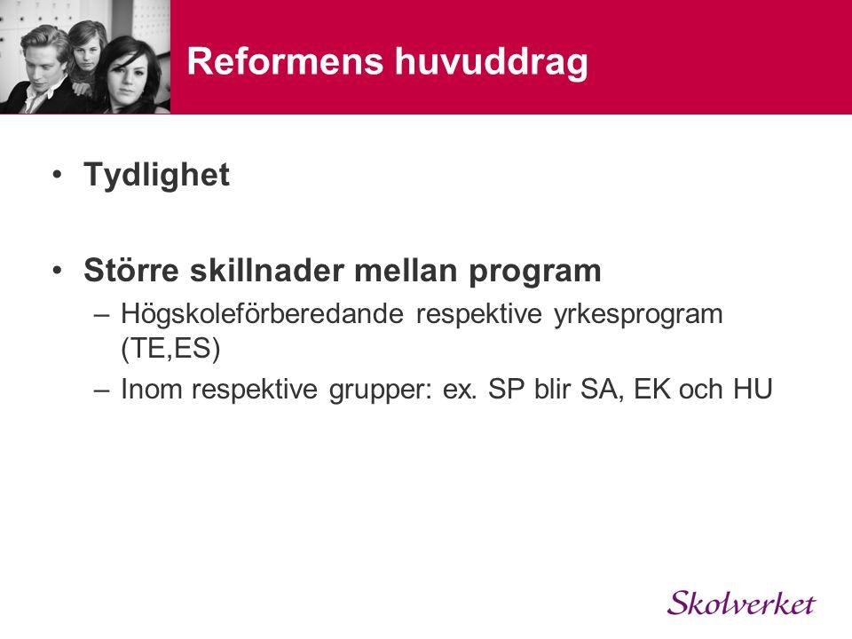 Reformens huvuddrag Tydlighet Större skillnader mellan program