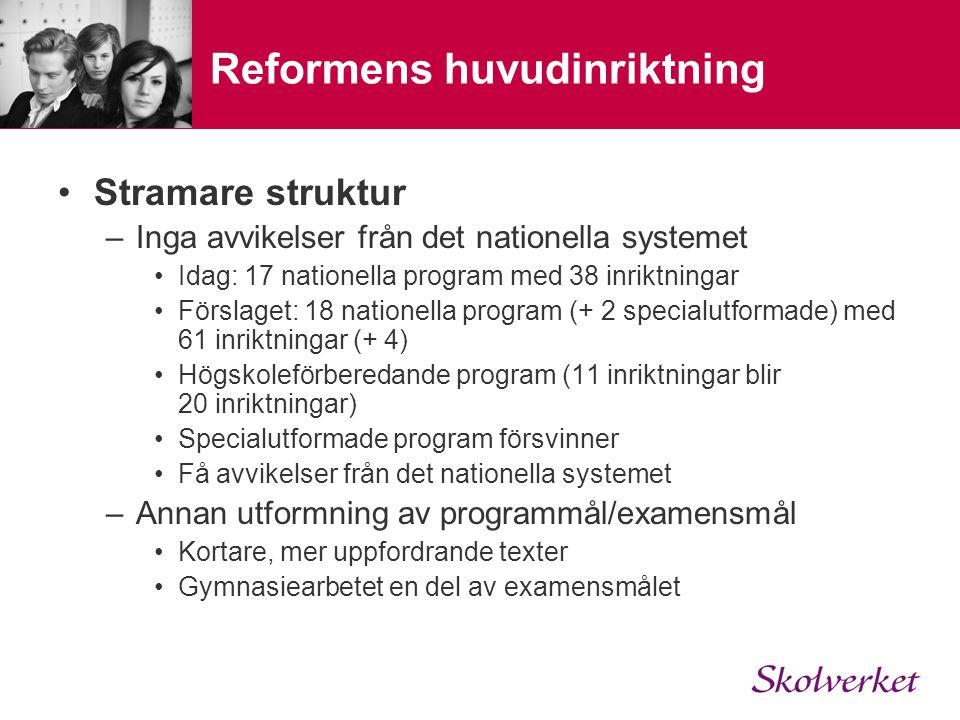 Reformens huvudinriktning