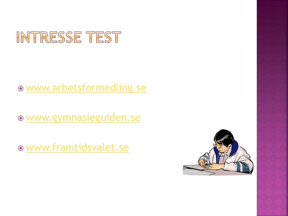 INTRESSE TEST www.arbetsformedling.se www.gymnasieguiden.se