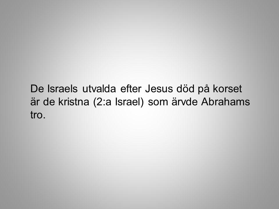 De Israels utvalda efter Jesus död på korset är de kristna (2:a Israel) som ärvde Abrahams tro.