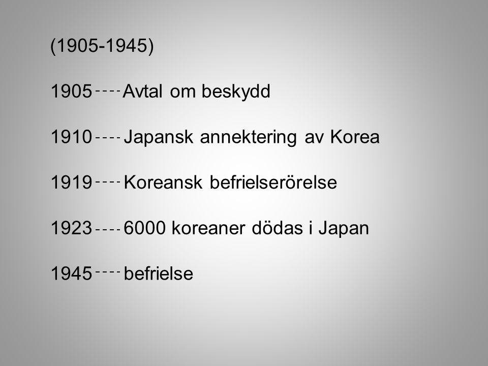 (1905-1945) 1905 Avtal om beskydd. 1910 Japansk annektering av Korea. 1919 Koreansk befrielserörelse.