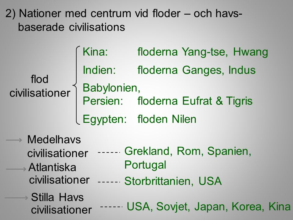 2) Nationer med centrum vid floder – och havs- baserade civilisations