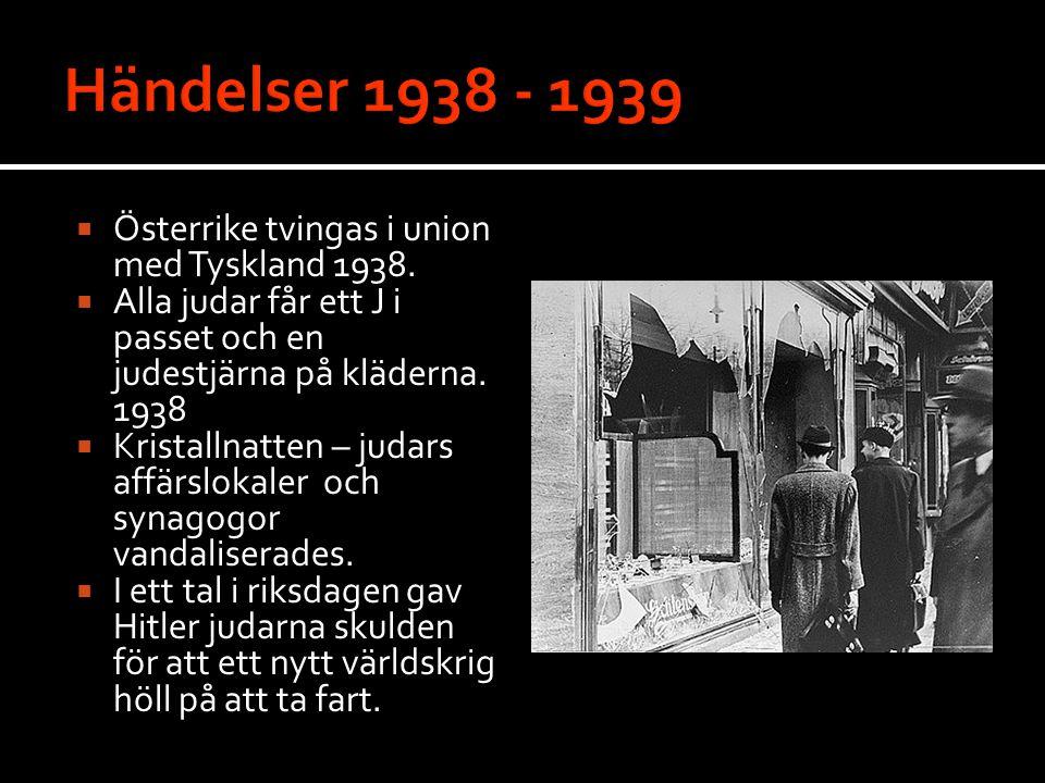 Händelser 1938 - 1939 Österrike tvingas i union med Tyskland 1938.