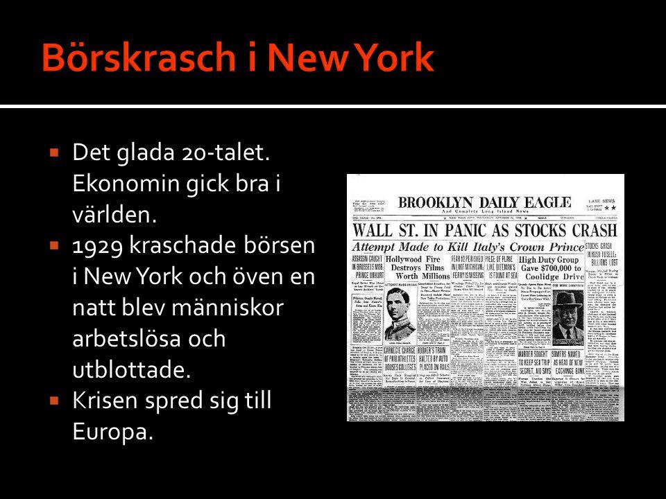 Börskrasch i New York Det glada 20-talet. Ekonomin gick bra i världen.