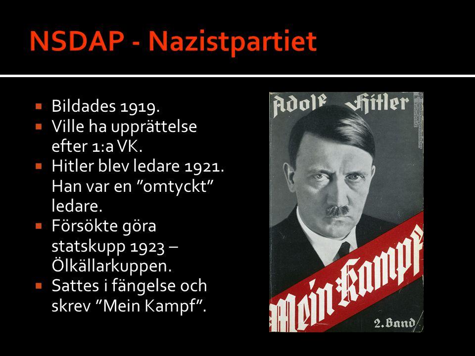 NSDAP - Nazistpartiet Bildades 1919.