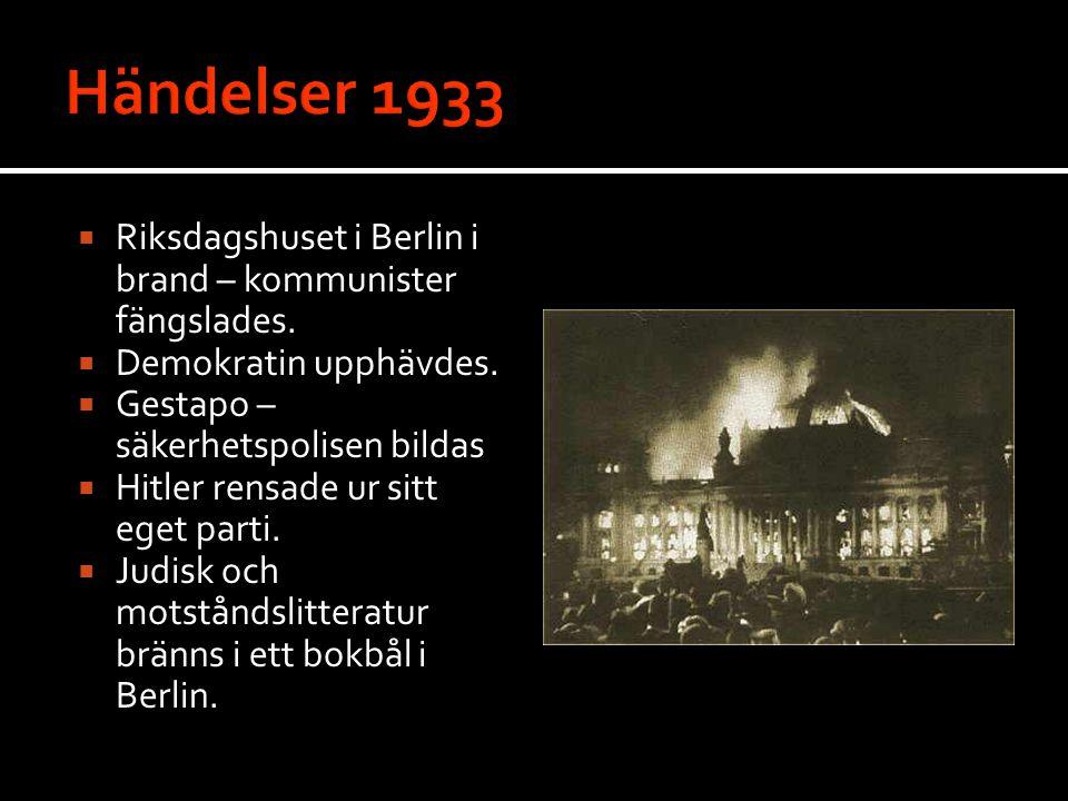 Händelser 1933 Riksdagshuset i Berlin i brand – kommunister fängslades. Demokratin upphävdes. Gestapo – säkerhetspolisen bildas.