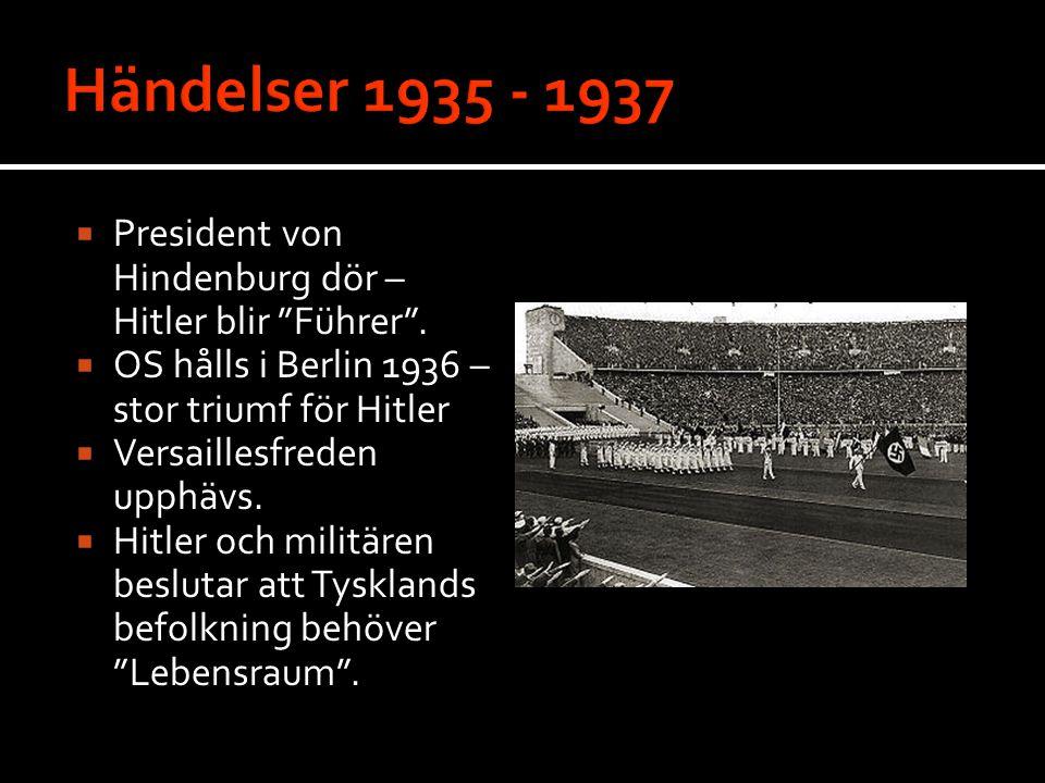 Händelser 1935 - 1937 President von Hindenburg dör – Hitler blir Führer . OS hålls i Berlin 1936 – stor triumf för Hitler.