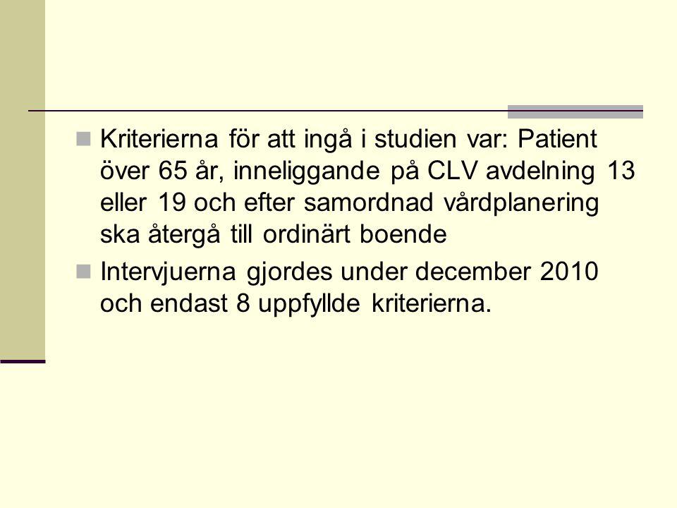 Kriterierna för att ingå i studien var: Patient över 65 år, inneliggande på CLV avdelning 13 eller 19 och efter samordnad vårdplanering ska återgå till ordinärt boende
