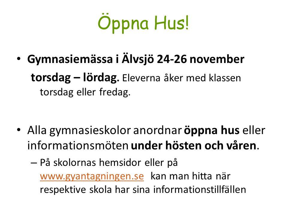 Öppna Hus! Gymnasiemässa i Älvsjö 24-26 november