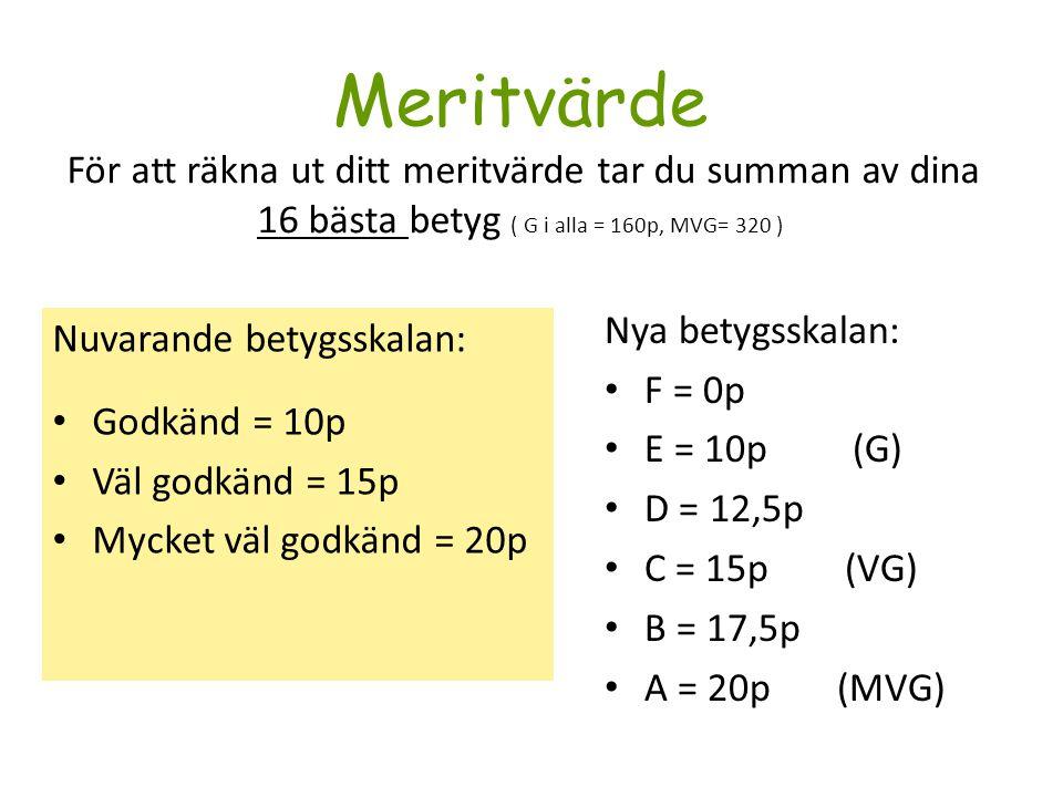 Meritvärde För att räkna ut ditt meritvärde tar du summan av dina 16 bästa betyg ( G i alla = 160p, MVG= 320 )