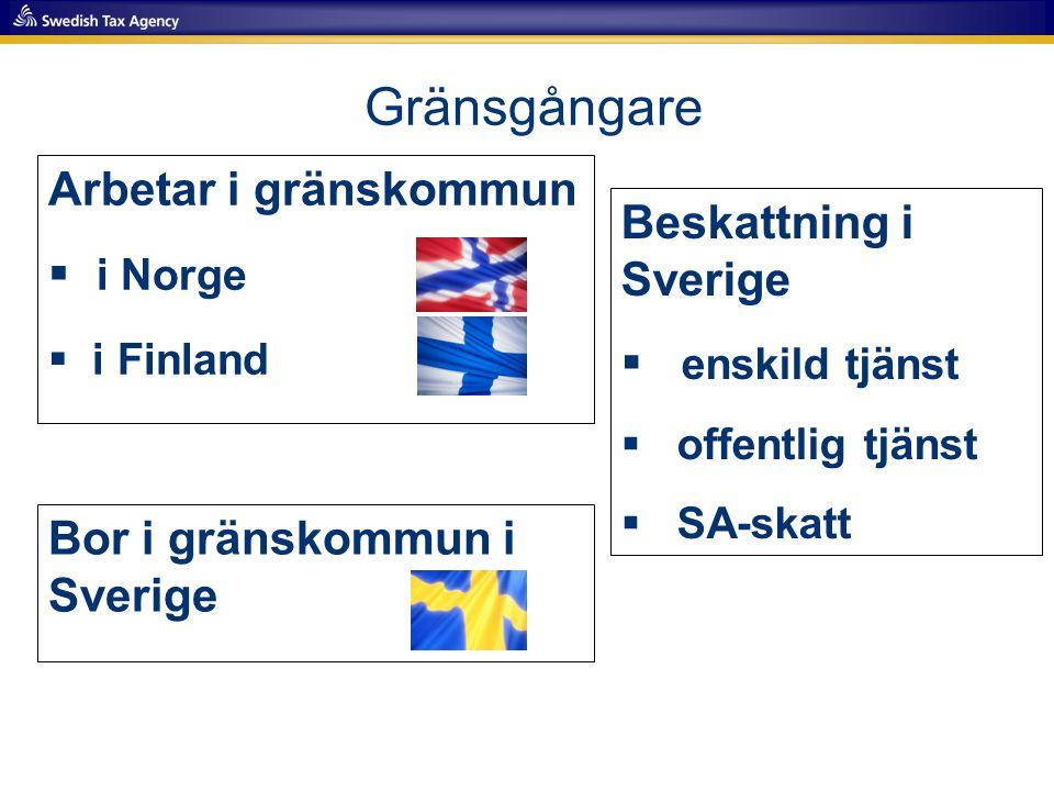Gränsgångare Arbetar i gränskommun i Norge Beskattning i Sverige