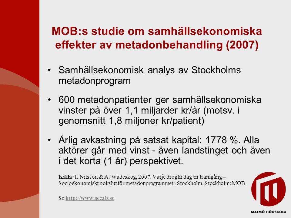 MOB:s studie om samhällsekonomiska effekter av metadonbehandling (2007)