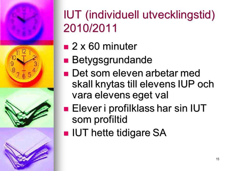 IUT (individuell utvecklingstid) 2010/2011