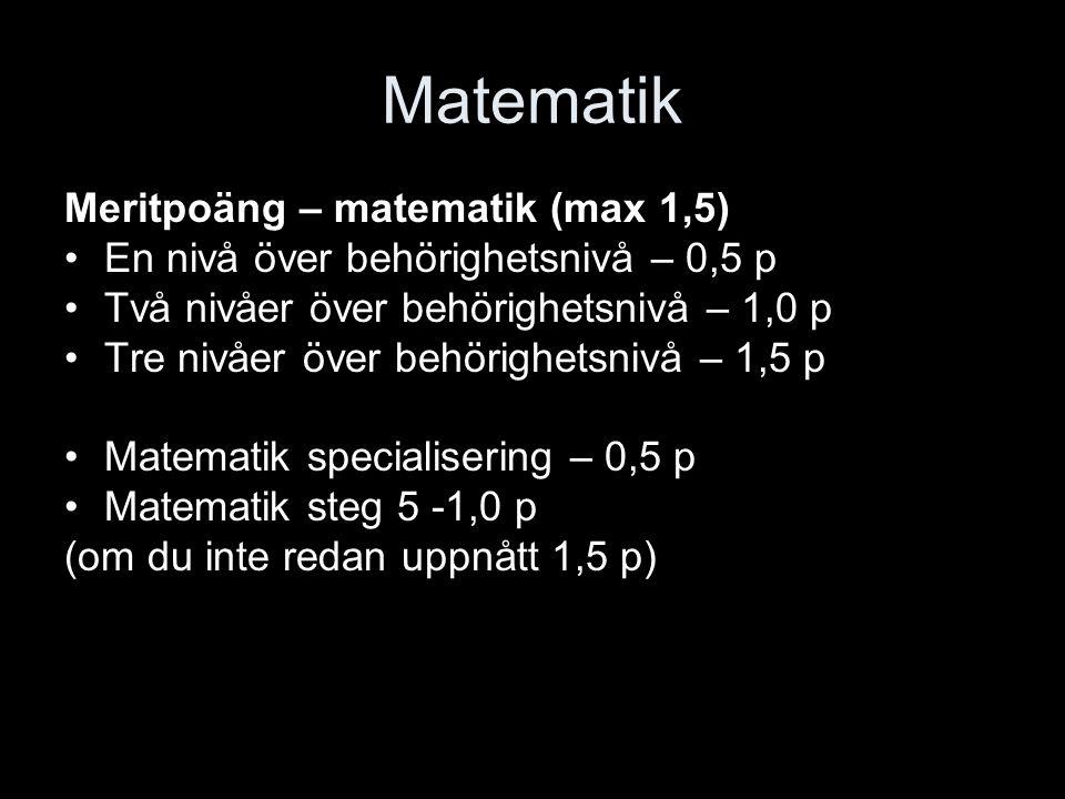 Matematik Meritpoäng – matematik (max 1,5)