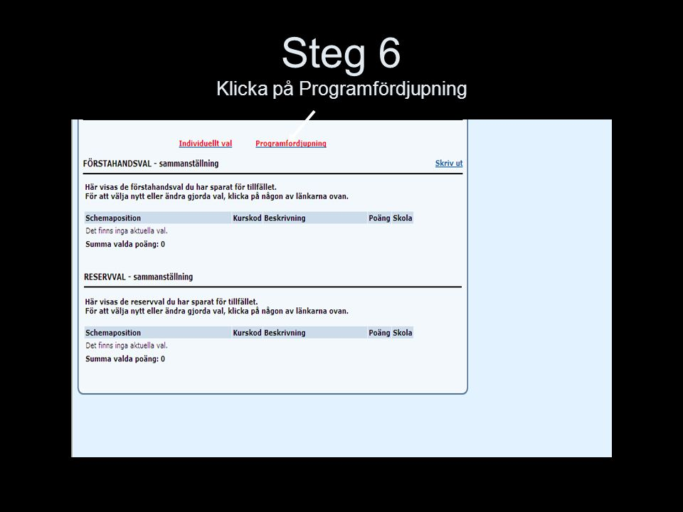 Steg 6 Klicka på Programfördjupning