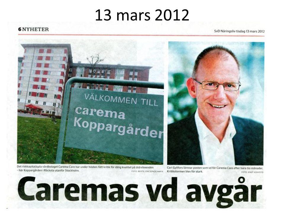 13 mars 2012 Riskkapitalet på full reträtt.