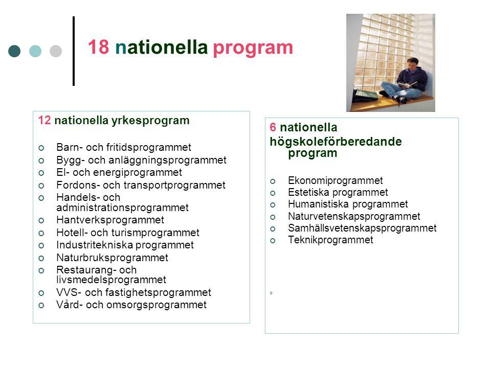 18 nationella program 6 nationella högskoleförberedande program