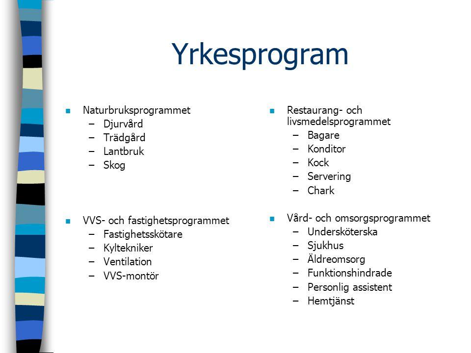Yrkesprogram Naturbruksprogrammet Djurvård Trädgård Lantbruk Skog