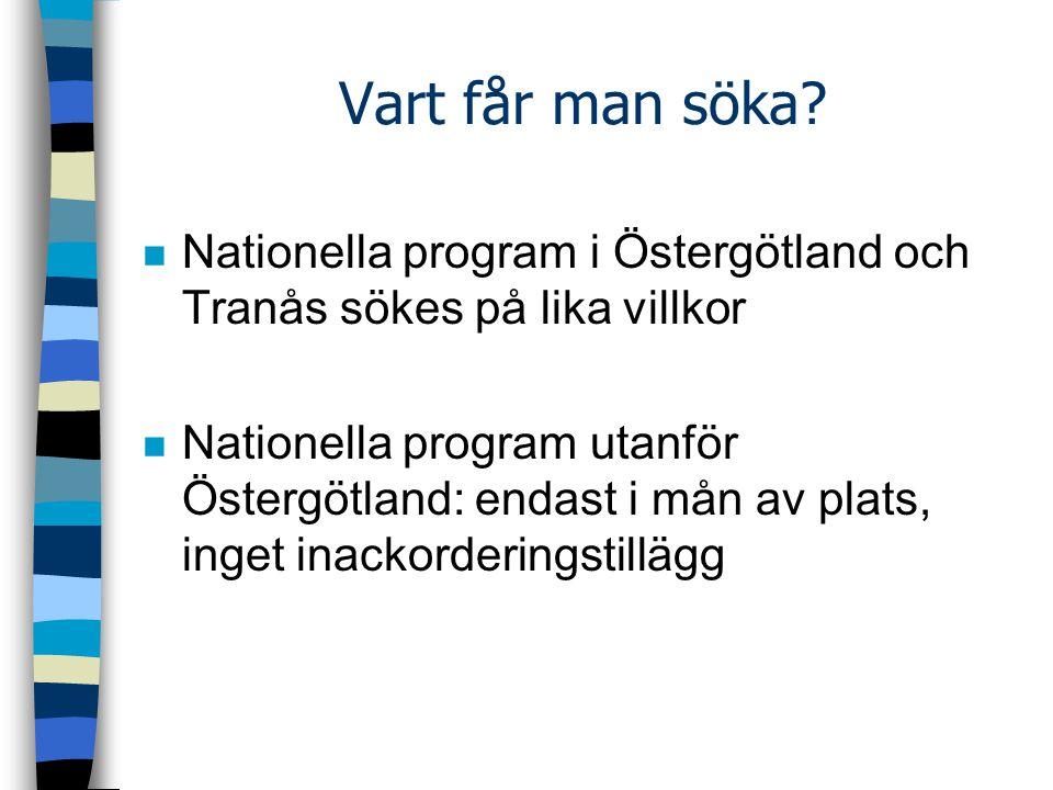 Vart får man söka Nationella program i Östergötland och Tranås sökes på lika villkor.