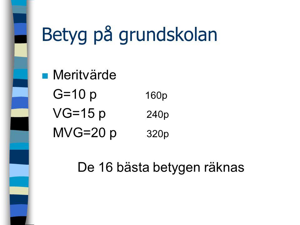 Betyg på grundskolan Meritvärde G=10 p 160p VG=15 p 240p MVG=20 p 320p