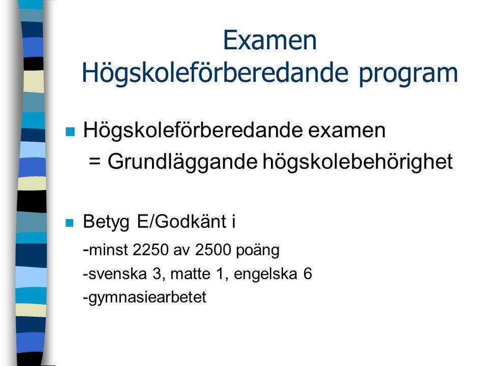 Examen Högskoleförberedande program