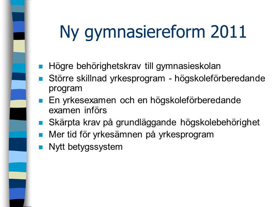 Ny gymnasiereform 2011 Högre behörighetskrav till gymnasieskolan
