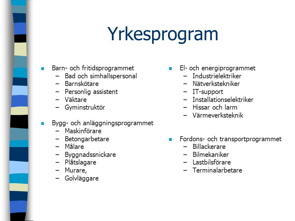 Yrkesprogram Barn- och fritidsprogrammet Bad och simhallspersonal