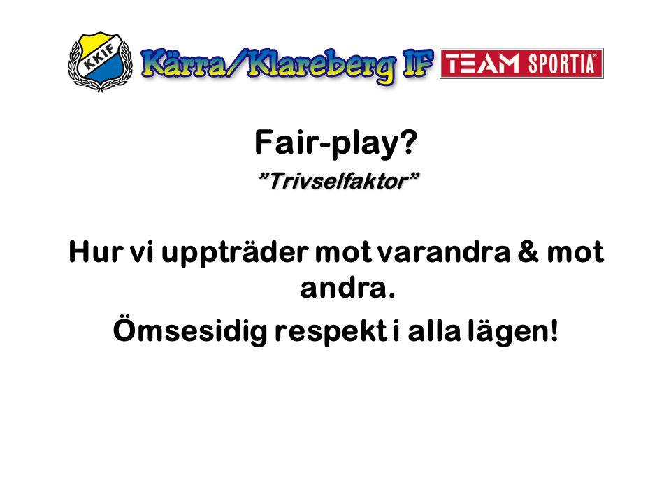Fair-play Hur vi uppträder mot varandra & mot andra.