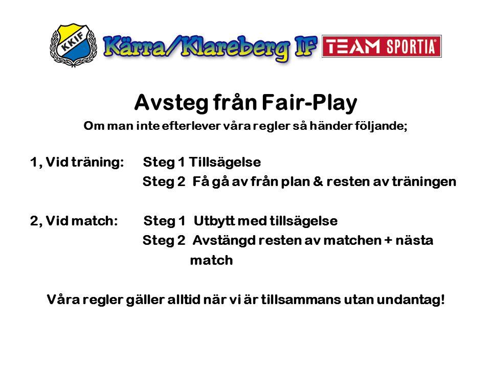 Avsteg från Fair-Play 1, Vid träning: Steg 1 Tillsägelse